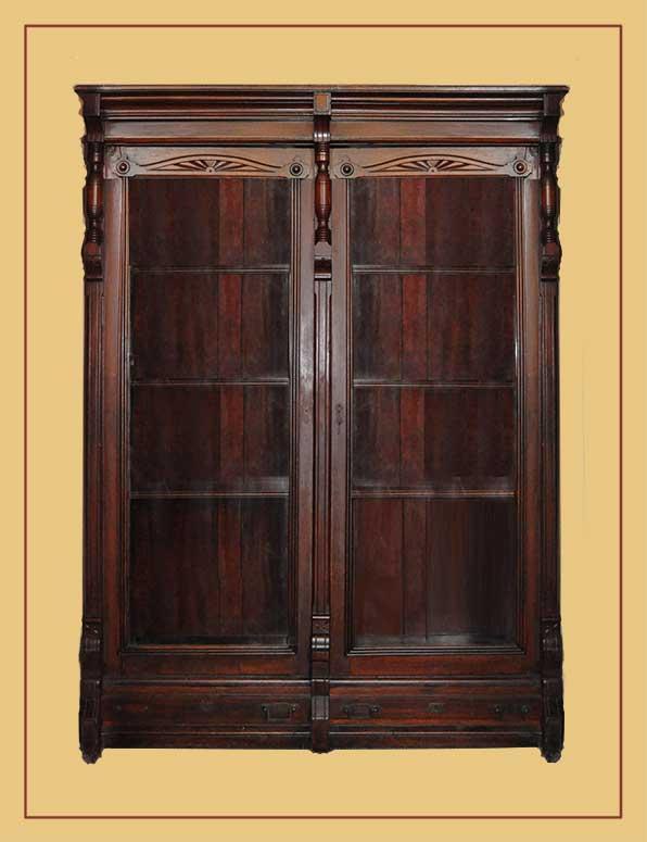 Victorian Carved Walnut Bookcase