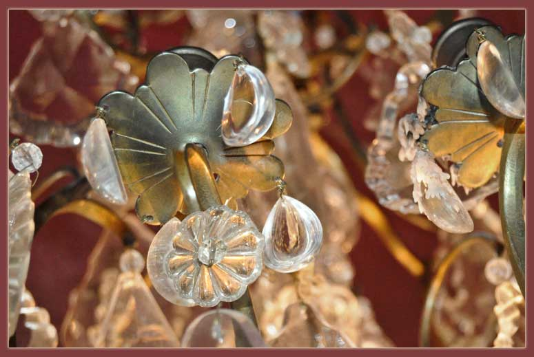 Vintage Chandelier, with Interior Lights & Crystals