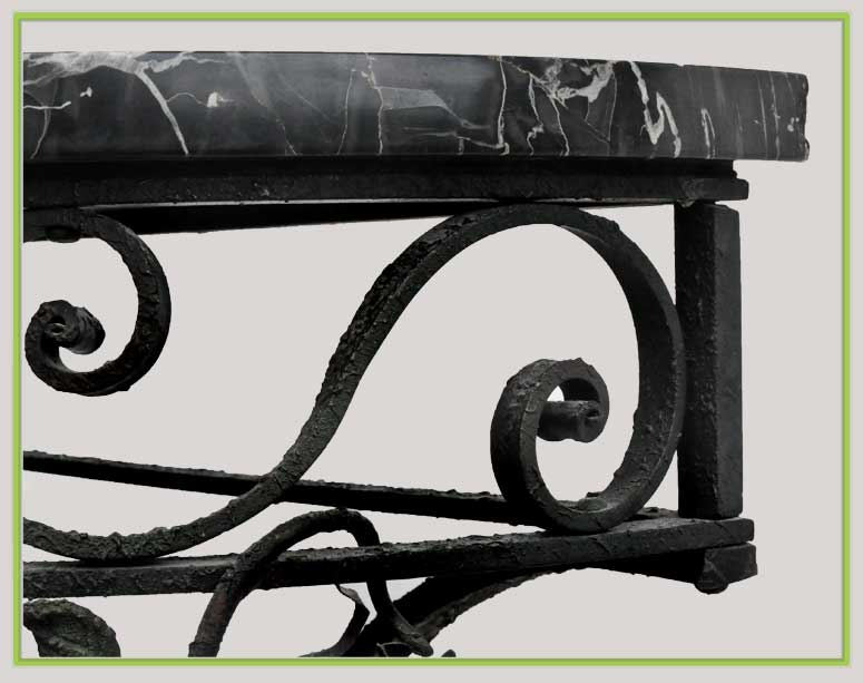 Cast-Iron Console, with Marble Top