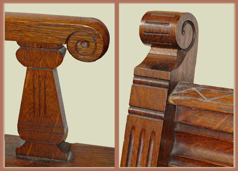 Rare Carved Oak Bench Cabinet