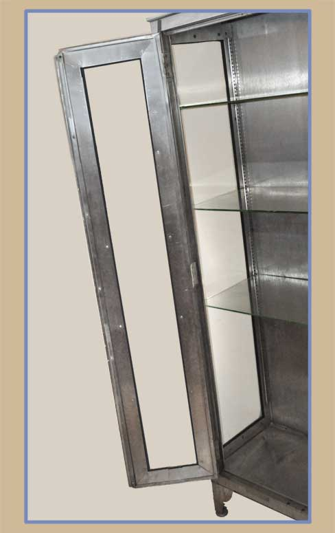 Metal Curio Cabinet, with Glass Shelves