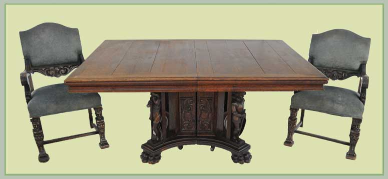 Lovely Nine-Piece Carved Dining Room Set