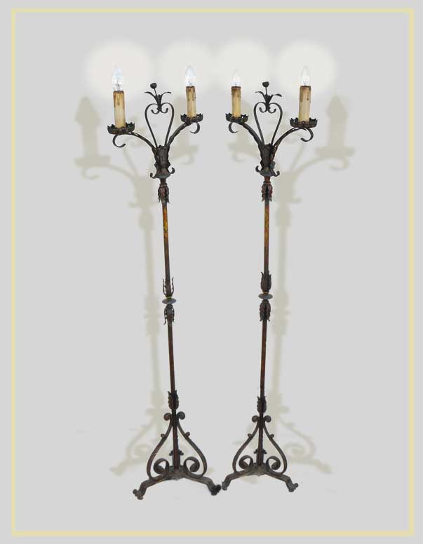 Pair of Double-Armed Floor Lamps