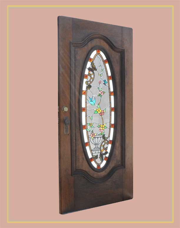 Newer Carved Door, with Contemporary Stained Glass