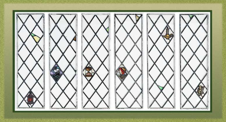 Set of 6 Vintage French Glass Panels, with Accents