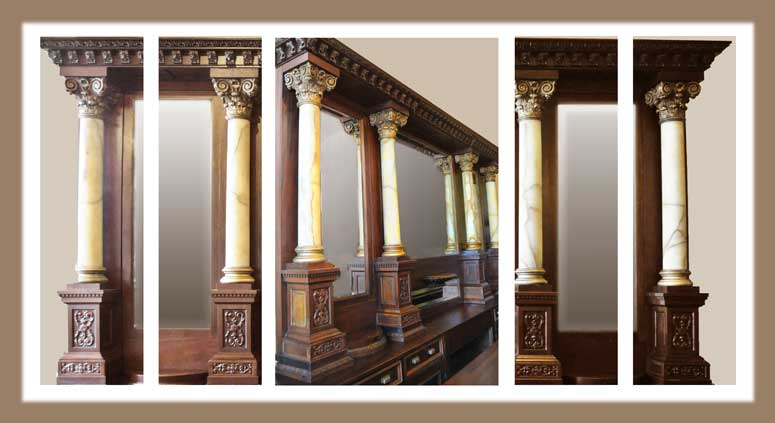 Stunning 15-Foot Front & Back Bar, with Marble Columns