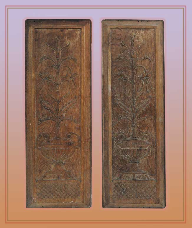 Pair of Vertical Carved Wood Panels