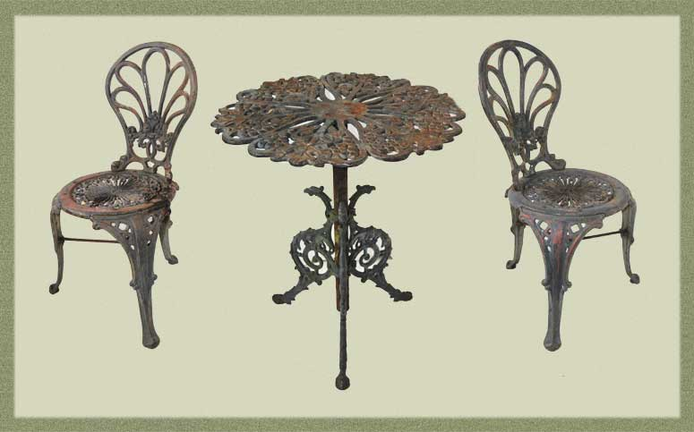 Three-Piece Cast-Iron Garden Chair & Table Set