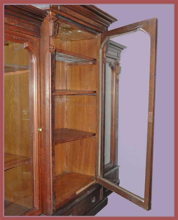Three-Door Walnut Bookcase, with Burls