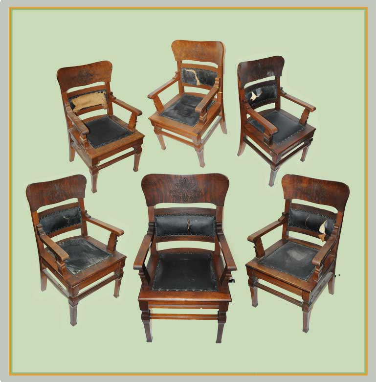 Vintage, Six-Piece Set of Walnut Chairs