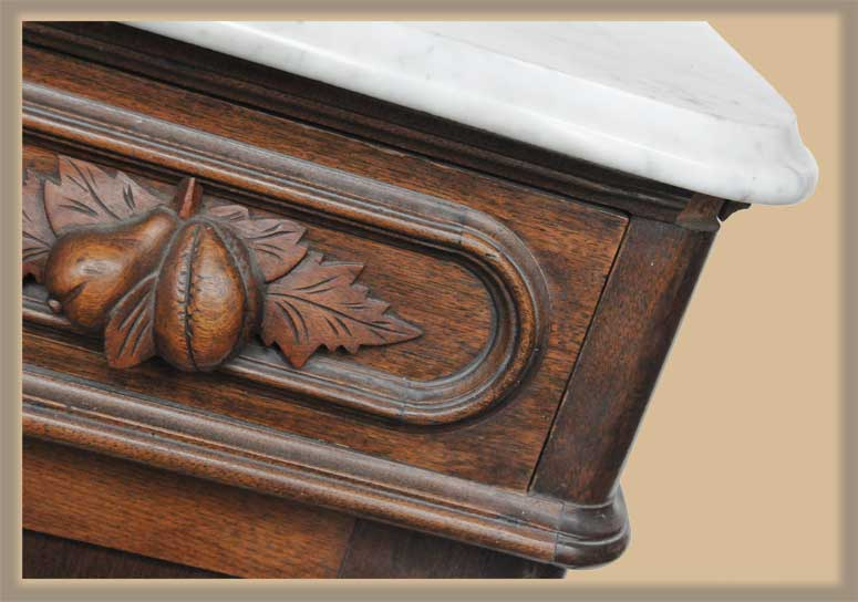 Small Carved Commode, with Marble Top