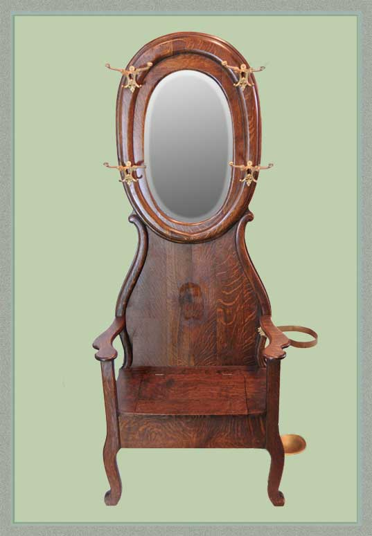 Small Oak Hall Tree, with Oval Mirror
