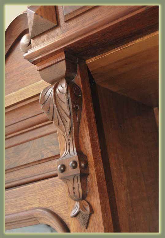 Deeply Carved 3-Door Walnut Bookcase, with Burls