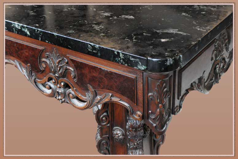 Stunning Eight-Foot Carved Console, with Black Marble Top