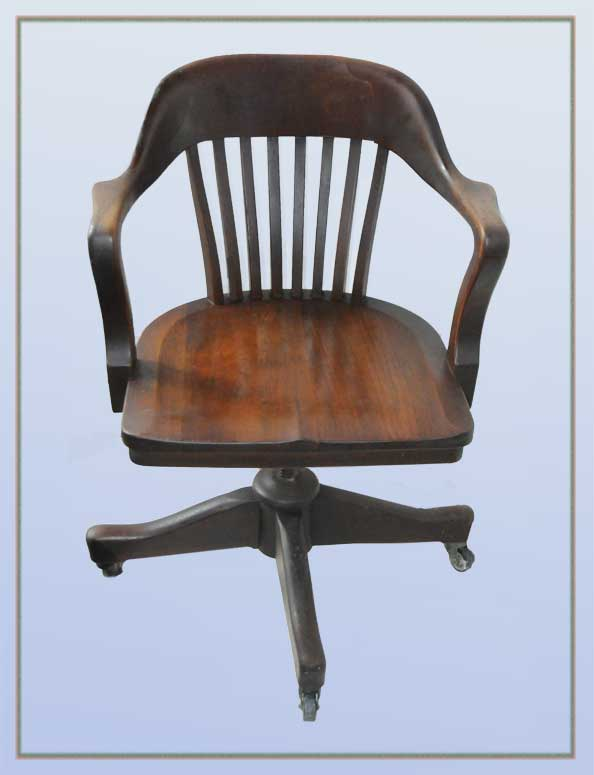 Carved Wooden Office Chair, on Casters