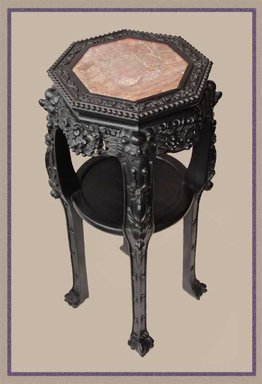 Highly Carved 1880s Chinese Table, with Octagonal Marble Top
