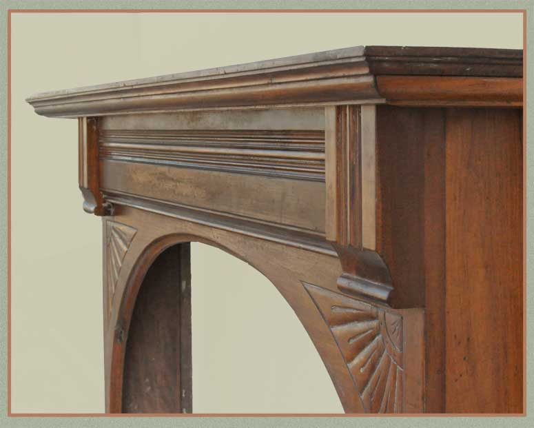 Full Walnut Mantel, with Mirror & Arch Opening