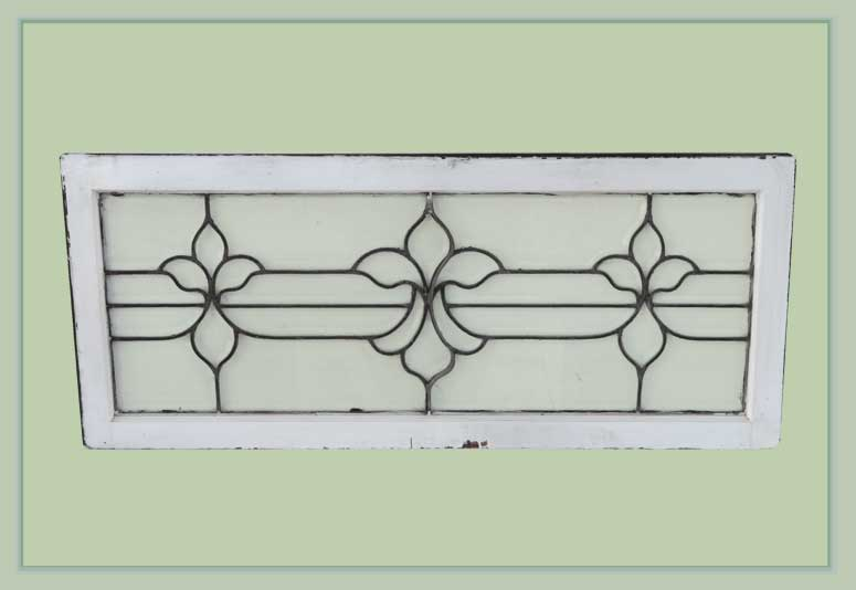 Floral Beveled Glass Transom, in Wood Frame