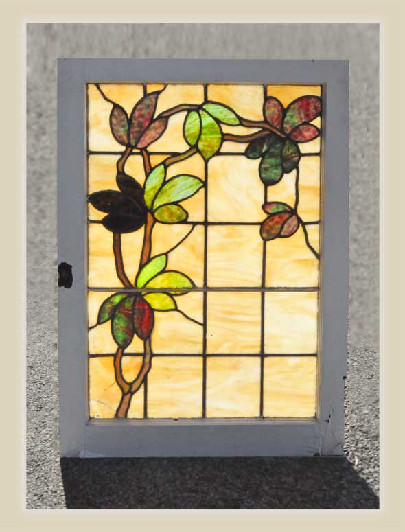Small Stained Glass Window, with Vines & Leaves