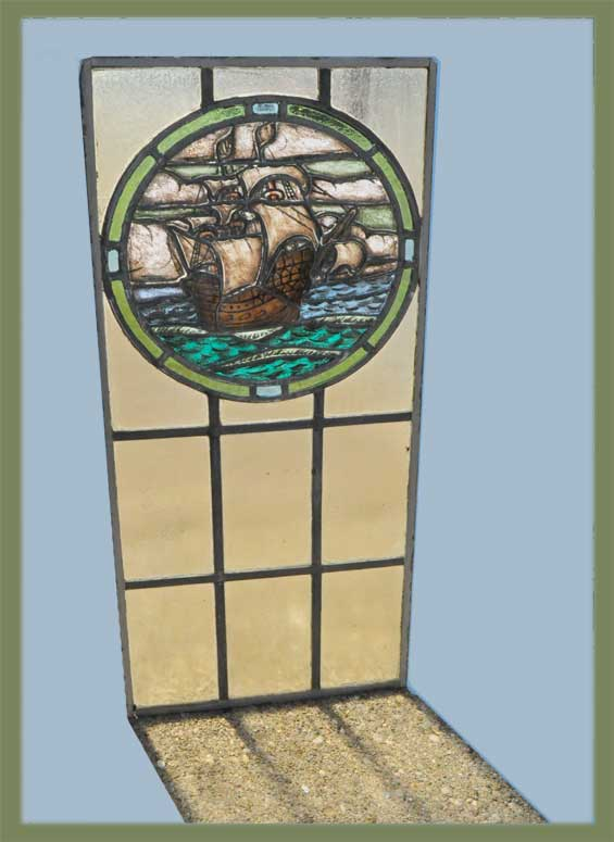 Small French Glass Window, with Ship Artwork