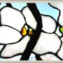1970s Floral Stained Glass Window, Signed by Artist