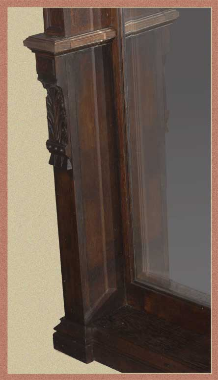 Custom-Made Carved Pier Mirror, with Large Beveled Mirror