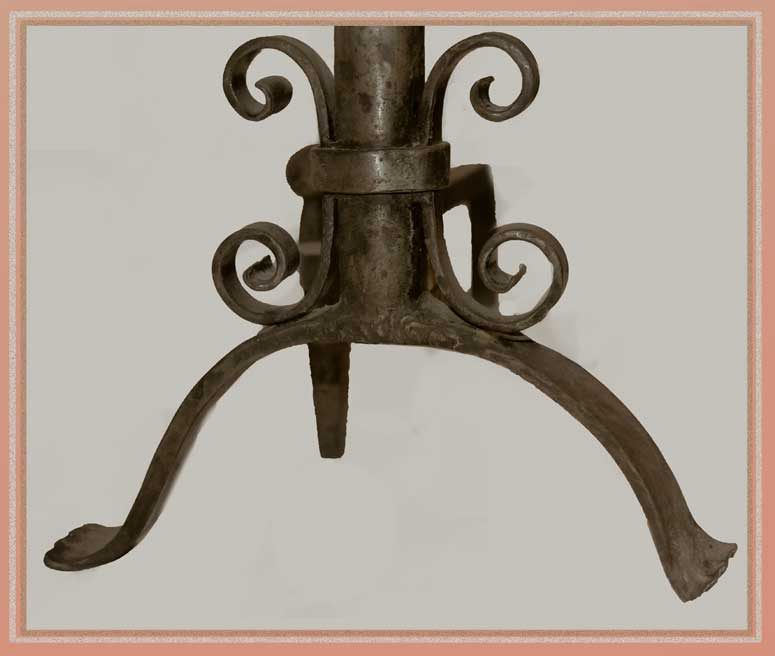 Pair of Small Brass Andirons, with Flower Ornaments