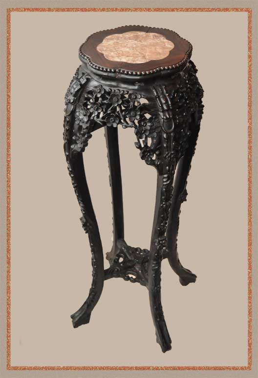 Ornate 1880s Chinese Stand, with Pink Marble Inset