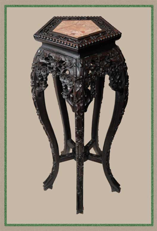 Ornate 1880s Chinese Pedestal, with Hexagonal Marble Inset