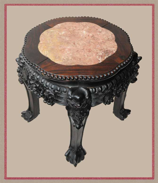 Small 1880s Chinese Pedestal, with Pink Marble Inset