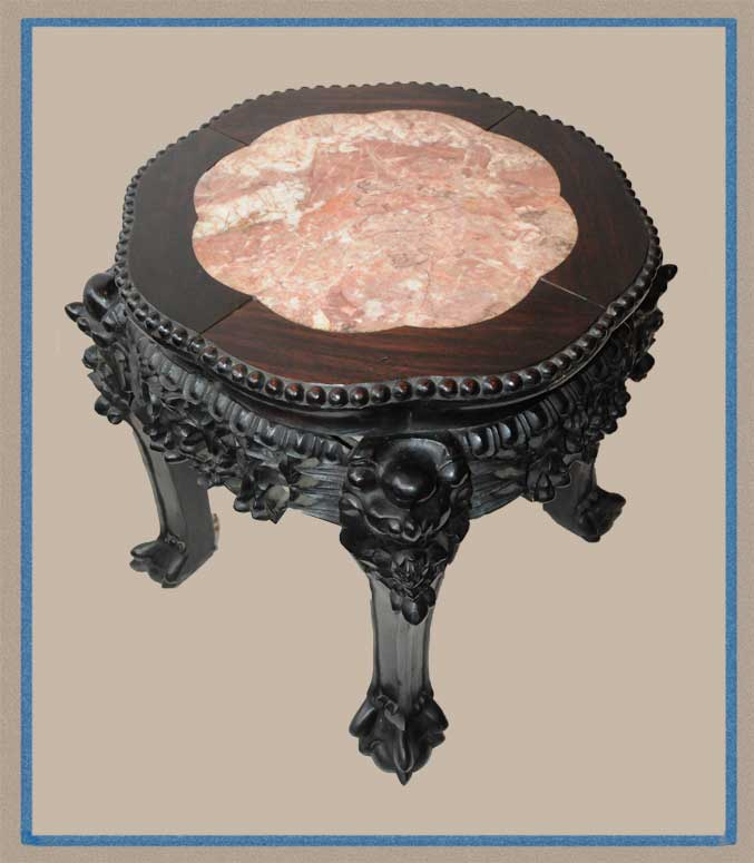 Small 1880s Chinese Pedestal, with Pink Marble Top