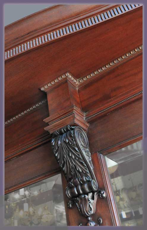 Custom Carved 1905 Mahogany Sideboard, with Twisted Columns