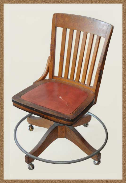 Wooden Office Chair, with Metal Foot Rest Ring