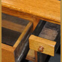 Large Oak Partners Desk, with Black Pleather Top