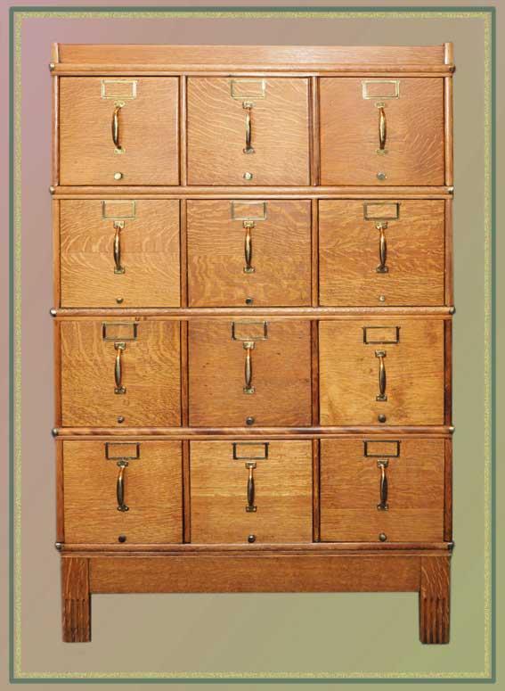 Large Oak 12-Drawer Filing Cabinet
