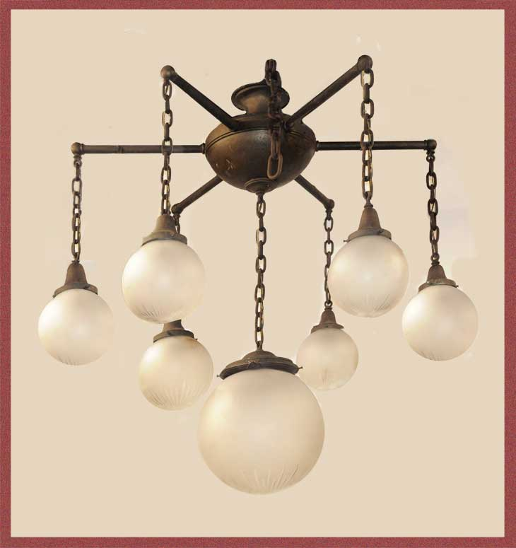 Large, 7-Globe Chandelier, with Wheel-Cut Shades