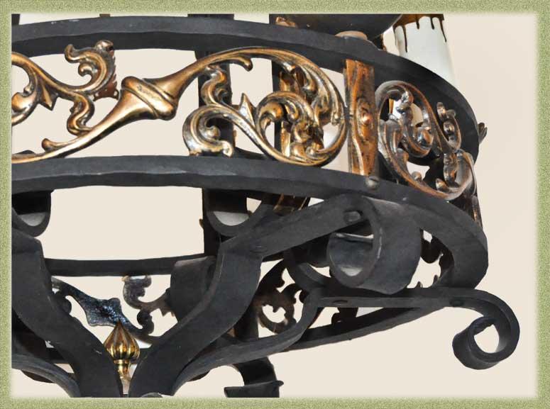 Decorative 6-Arm Iron & Brass Hanging Light