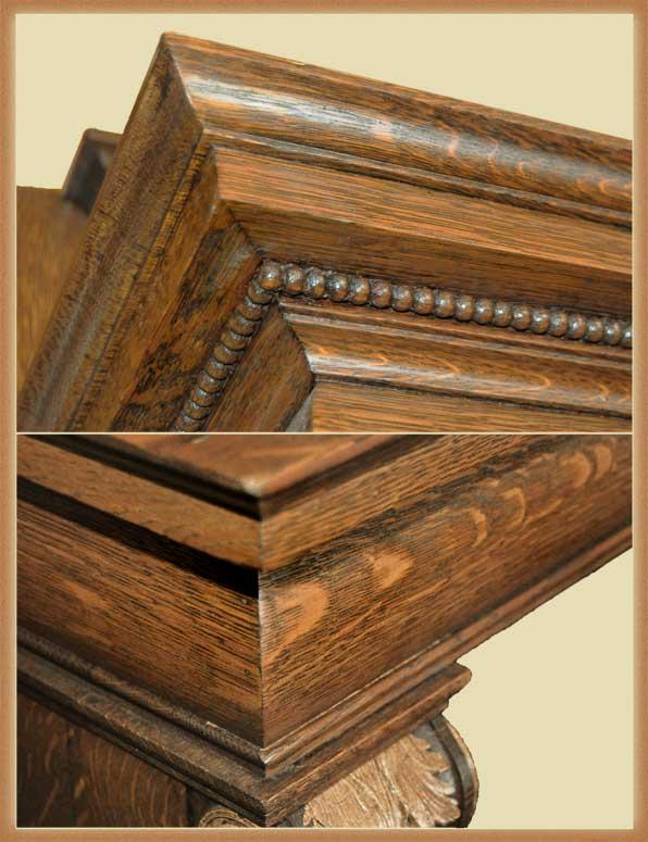 Lovely Carved Oak Full Mantel, with Carved Brackets