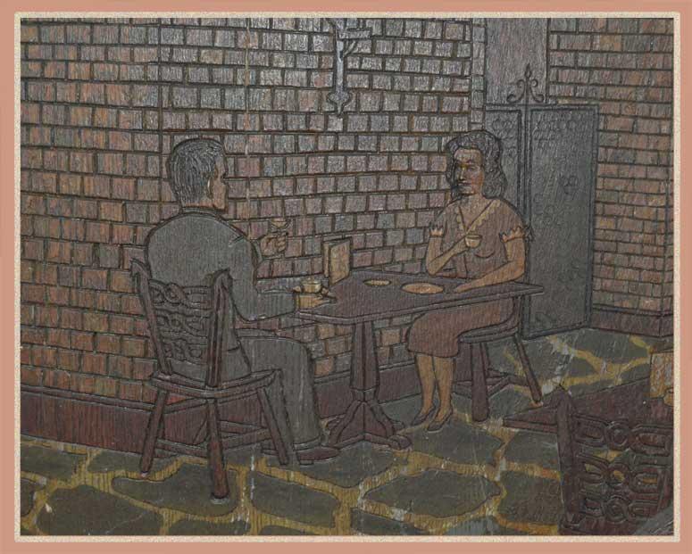 "Carved Barrel Head from Historical Cincinnati Restaurant ""Wiggins"""