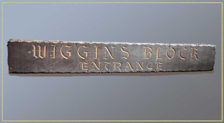 "Entrance Sign from Historical Cincinnati Restaurant ""Wiggins"""