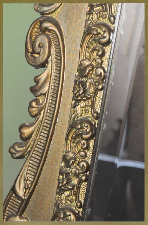 Large Mirror, with Gold-Painted Filigreed Frame & Bevels