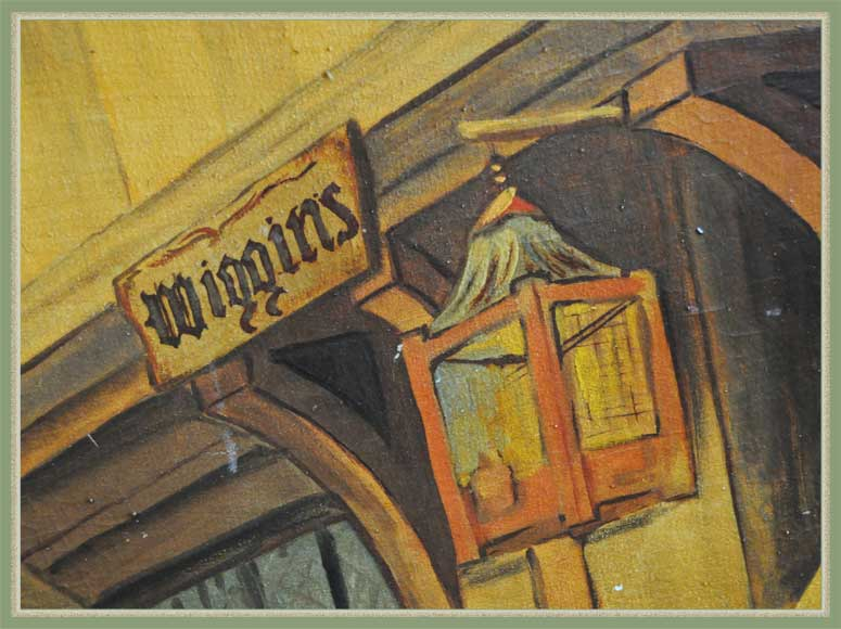 "Large Oil Mural from Historical Cincinnati Restaurant ""Wiggins"""