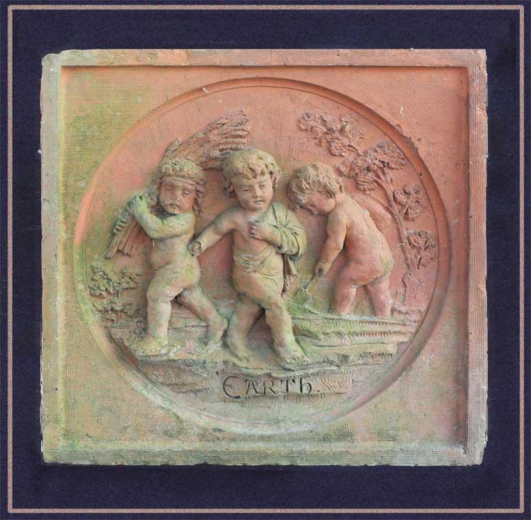 Salvaged Terra Cotta Plaque with Cherubs