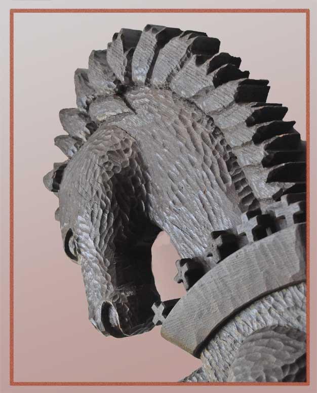 "Carved Horse Figure From Historical Cincinnati Restaurant ""Wiggins"""