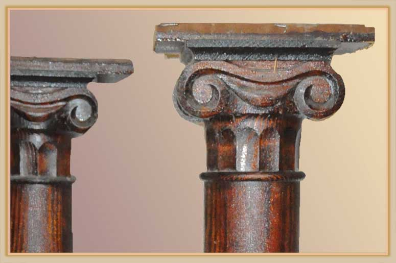 Vintage Pair of Wooden Columns, with Carved Capitals
