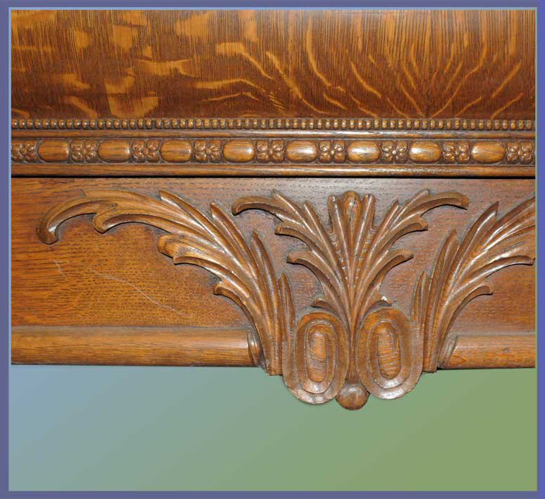 Exceptional, Deeply Carved Turn-of-the-Century Oak Bed