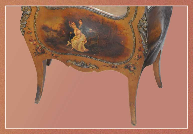 Gold French Curio Cabinet, with Scenic Details
