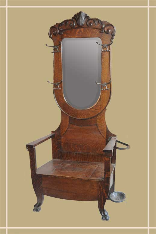 Carved Oak Hall Tree with Shaped Beveled Mirror