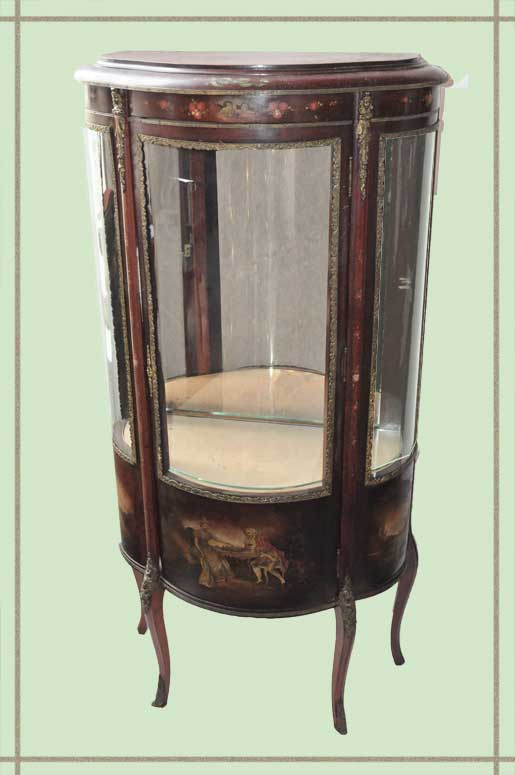 Small, Shaped Display Cabinet, with Inlay Detail
