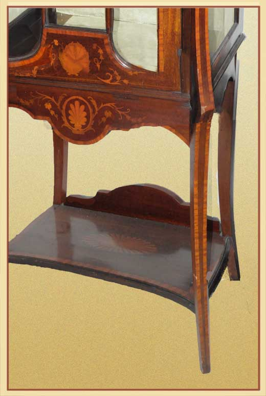 Large, Crafted English Display Cabinet, with Inlays